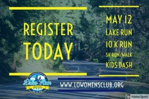 Text saying Register Today May 12 Lake Run 10K run 5K run/walk Kids Dash against a road lined with trees