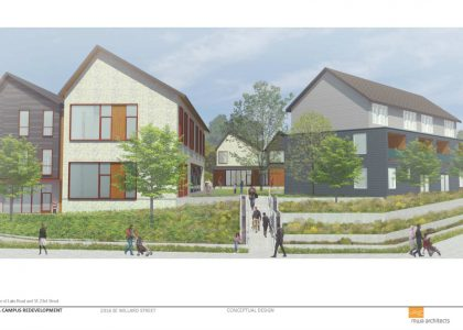 An architectural rendering of the Northwest Housing Alternatives campus