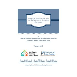 """The title page of the """"Program Evaluation and Data Culture in Resident Services"""" paper"""