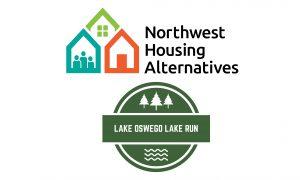 The Northwest Housing Alternatives logo above the Lake Oswego Lake Run logo