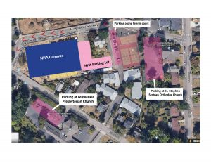 A map of the NHA campus showing available parking lots for the NHA grand opening event.
