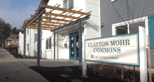 Photo of the front of the Clayton Mohr Commons affordable housing complex.