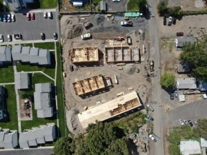 Aerial view of a construction site for a new affordable housing project in Hermiston Oregon.