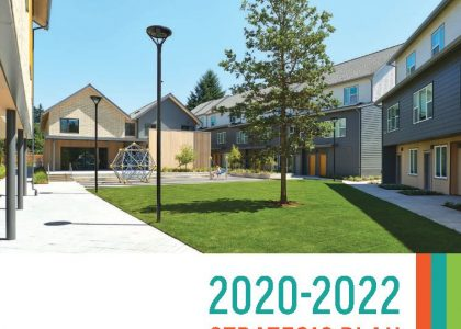 The cover of the 2020-2022 NHA Strategic Plan which features a photo of the Northwest Housing Alternatives campus.