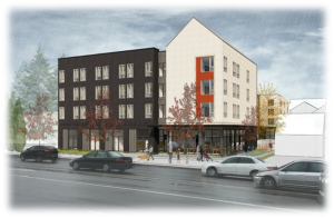 Architectural rendering of a new affordable housing project in the Gateway neighborhood of Portland.