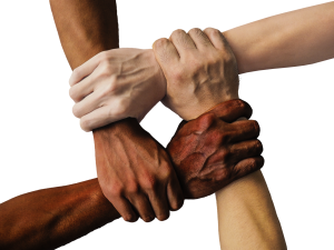 four hands in light and dark skin tones clasped together to form a square