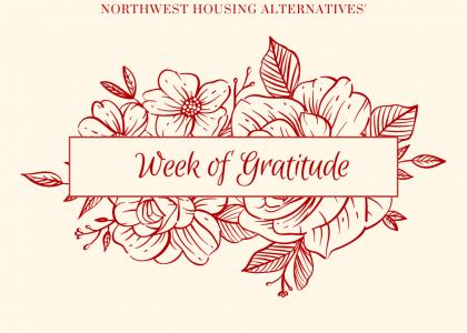 Flowers surrounding the text Week of Gratitude